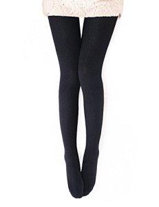 VERO MONTE Collants côtelés opaques en laine mélangée pour femme – Noir – L – XL : Hauteur : 5'23/6'3 cm/poids : 170/ 210lbs