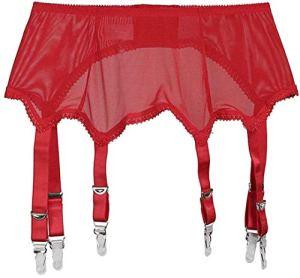 XZY Femmes Perspective Porte-Jarretelles Sexy Dentelle Cuisse Jarretelles Bas Porte-Jarretelles Lingerie, 1-Rouge, S