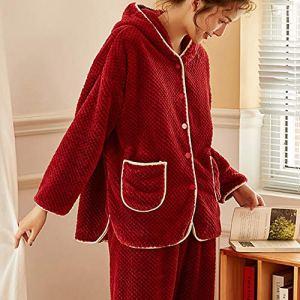 YAzNdom Pyjama De Dames Femmes 2 Holiday Pyjama Pyjama en Flanelle Douce Longue Polaire À Capuchon Pyjama Pajamas Set De Dames (Color : Pink, Size : 170)