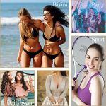 2 Paires Coussinets Soutien-Gorge, Inserts de Soutien-Gorge Push-up Adhésifs pour Sports de Bikini (Noir + Marron, Large)