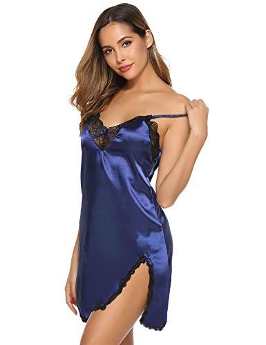 Aibrou Nuisette Femme Chemise de Nuit Femme Robe de Nuit Bretelles Reglables Robe de Chambre, Navy Bleu-kc, L