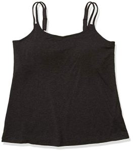 Amoena Women's Valetta Pocketed Camisole W/Built in Shelf Bra Charcoal Melange, Mélange, 6