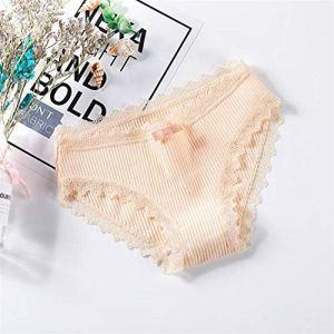 AOXQ Culotte en dentelle pour femme en coton sans couture avec nœud mignon pour filles culottes douces et confortables sous-vêtements tendance pour femmes culottes – Doré _ L