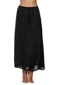 Avidlove Jupon Femme Long sous-Vêtements Lingerie,Noir,S