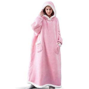 AXYQ Couverture Lazy Winter, Flanelle de Femmes et Hommes Pyjama, Vertical étendue Poches et vêtements de Fourrure d'agneau Accueil,Rose