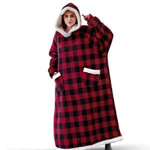 AXYQ Couverture Lazy Winter, Flanelle de Femmes et Hommes Pyjama, Vertical étendue Poches et vêtements de Fourrure d'agneau Accueil,Rouge