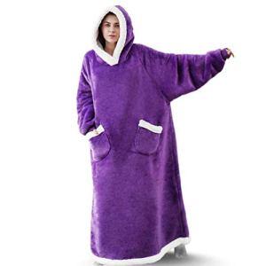 AXYQ Couverture Lazy Winter, Flanelle de Femmes et Hommes Pyjama, Vertical étendue Poches et vêtements de Fourrure d'agneau Accueil,Violet