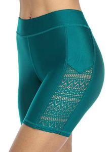 beautyin Women Swimshorts Long Swim Board Short Tummy Control Jammer Blue Green