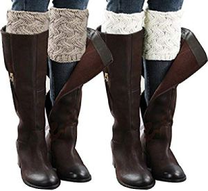 Chalier 2 Paires Guêtres Femme Fille Hiver Chaudes Courte Chaussettes Boot Cover Boote Tricotés Crochet Extérieur