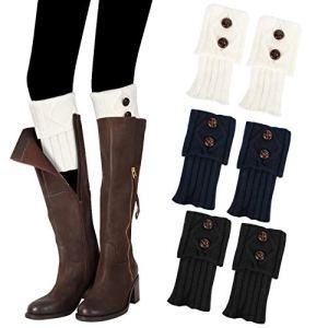 Emooqi 3 Paires de Jambières Femme, Courtes Crochet Tricoté Bas Guêtres d'Hiver Chaudes Legging Chausettes Extensibles pour Femmes Dames