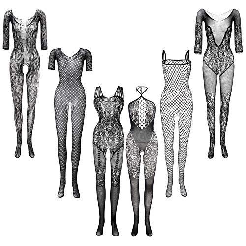 FEPITO 6 Set Femmes Bas Lingerie Dentelle Body Résille Party Date Port,Color C(Noir),Taille unique