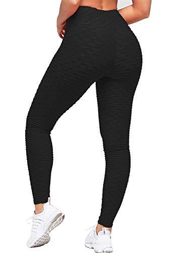 Geahod Leggings de Compression Anti-Cellulite Amincissant Femme Pantalon Elastique Tailleur Taille Haute Femme Sport Très Fins Trousers Pants Noir XXL