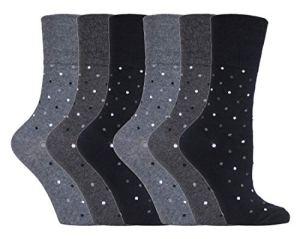 Gentle Grip – 6 Paires Coton Fantaisie Chaussettes Sans Elastiques pour Femme | Non Comprimantes Chaussettes avec Motifs (37/42, SOLRH144)