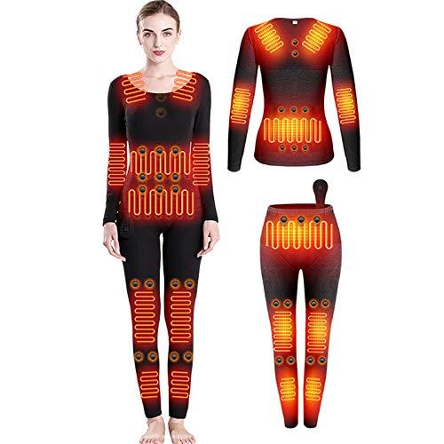HWZZ L'ensemble De sous-Vêtements Chauffants Comprend 28 Aimants Énergétiques Et 12 Zones Chauffantes en Fibre De Carbone, Adaptés Aux Sports De Plein Air d'hiver, Unisexe,Women's,XL