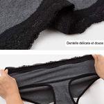 INNERSY Slip Femmes Coton Culottes Élégantes en Dentelle Shorty Sexy Taille Basse Lot de 6 (40, Noir/Gris)