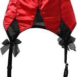 JFS Femmes Tache Rouge Larges Bretelles Grand Arc Boucles en métal Sexy Porte-Jarretelles pour Bas