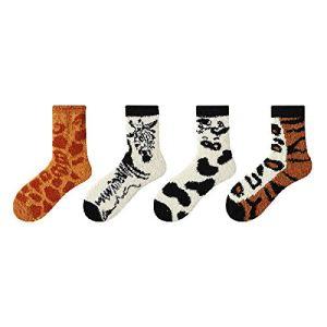 JMDS Chaussettes moelleuses Fuzzy Soft Dames Pantoufles confortables Chaussettes Hiver en peluche Chaussettes de sommeil chaudes et épaisses Chaussettes de sol (4 paires)