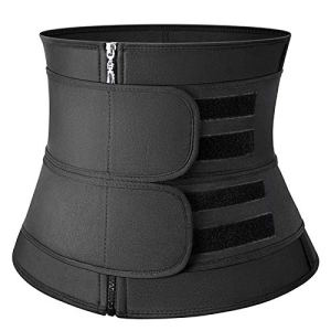 KSFBHC Taille Formateur Corset Sweat Ceinture for Les Femmes Perte de Poids Compression Trimmer séance d'entraînement de Remise en Forme (Color : Balck Zip 2 Belt, Size : Medium)