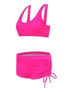 Liangcha-0401 Cadeaux Sexy Lover Mode féminine Sexy imprimé Couleur Unie Tankinis Pull Gilet élastique Ensembles Maillots de Bain (Color : Pink, Size : S)