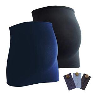 Mamaband Bandeau de grossesse pour bébé en lot de 2 + lot de 3 extensions de jeans – Chauffe-dos et extension de t-shirt pour femmes enceintes – Mode de grossesse élastique – Bleu – Medium