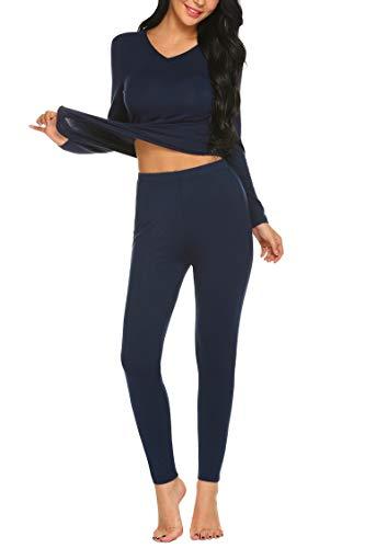 MAXMODA Ensemble de Pyjama Chauds sous-Vêtements Élastique Thermiques Top et Pantalon Couleur Unie Bleu Marine S
