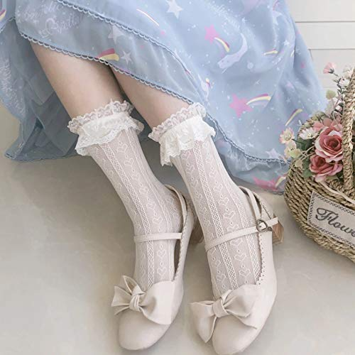 MIWNXM 10 Paires Lolita Hollow Lace Socks Female White Long Socks Ladies Lace Socks Women Cute Korean Version Floral Socks Black