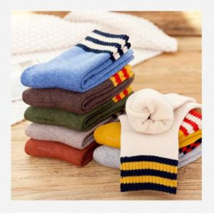 MIWNXM 10 Pairs Thick Terry Socks Korean Cartoon Stripe Candy Color Women's Cotton Thickened Warm and Comfortable Women's Cotton Socks
