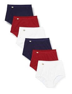 Playtex Pure Cotton Maxi Brief 6 Pack Slips, Blanc/Ancre Marine/Rouge Carmin, 48 Femme