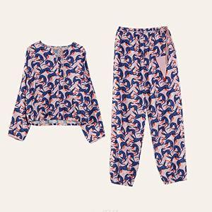 Pyjama De Dames Pyjama en Coton À Manches Longues Classique Femmes Costume Pantalon De Survêtement Imprimer Un Pyjama en Vrac Occasionnels Costume Longues Pantalon Manches