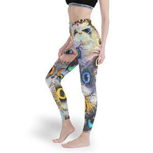Qunrontan Leggings de yoga doux sans couture pour filles avec motif chat – Blanc – XS