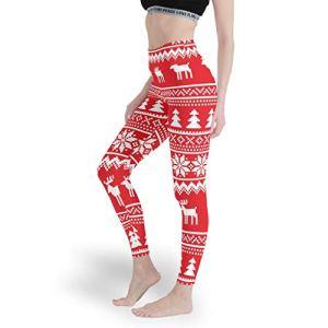 Qunrontan Leggings de yoga extensible confortable pour femme Motif élan de Noël – Blanc – S