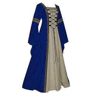 ReooLy Robe de princesse vintage vintage pour femme avec manches cloches et manches longues Style celtique boisé Renaissance gothique Cosplay – Bleu – Large