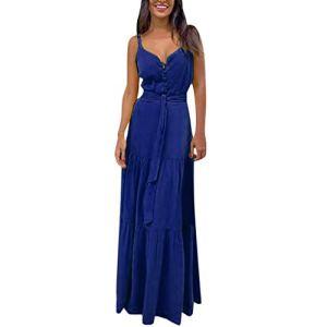 ReooLy Robe d'été sans manches à col en V pour femme – Bleu – X-Large