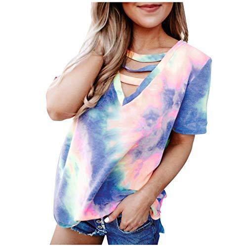 Rifuli Tie Dye Print T-shirt à manches courtes et col en V pour femme Motif léopard – Bleu – XXL