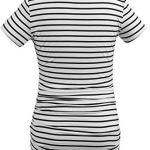 Smallshow Femmes Vêtements de Maternité Tops Vêtements de Grossesse 3-Pack Navy-White Stripe-Wine Large