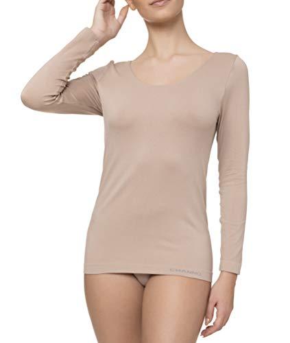 T-shirt intérieur femme manches longues Lycra sans coutures Seamless couleurs unies – Blanc – Medium/Large