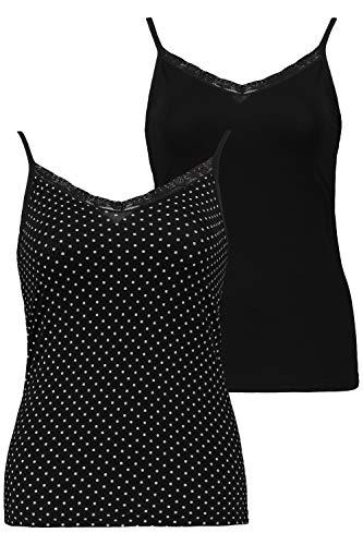 Ulla Popken Femme Grandes Tailles Caracos, Lot de 2 Noir 60/62 720926 10-58+