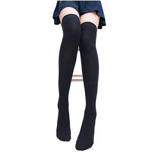 Wollaston Chaussettes d'hiver chaudes et douces – Pour femme – Longueur au genou – Longueur au niveau des cuisses – Chaussettes hautes – Confortable – Pour l'hiver – Pour l'hiver – Avec cordon chaud