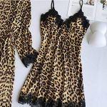Lulupi Femme Lingerie de Nuit Imprimé léopard Vêtements de Nuit Satin Ensemble en Dentelle Pyjamas Débardeur Nightwear Nuisette en Tous Les Saison