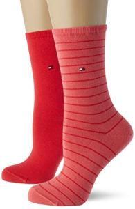 Tommy Hilfiger Small Stripe Women's Socks (2 Pack) Chaussettes, Rouge chiné, 35-38 (Lot de 2) Femme