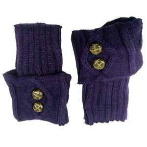 1 paire de jambières pour femme avec boutons courts, pour l'hiver, l'automne, le crochet torsadé chaud pour bottes – Couleur unie – Élastique