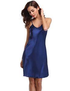 Aibrou femme Déshabillés chemise de nuit sexy en satin petite tenue nuisette Bretelles reglables Pure Douceur Robes Peignoir,Bleu,M
