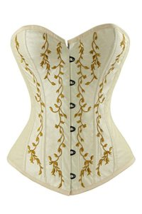 Charmian Women's Gothic Vintage Floral Renaissance Steel Boned Embroidery Overbust Corset Top Apricot Small