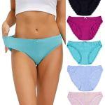 Cosmoft Lot de 5 culottes de bikini en coton taille basse avec dentelle pour femme – – Small