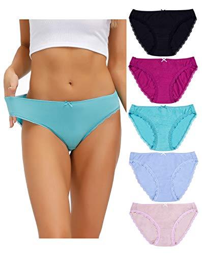 Cosmoft Lot de 5 culottes de bikini en coton taille basse avec dentelle pour femme – – XXX-Large