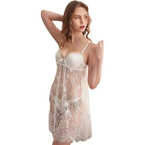 Costume Sexy en Dentelle,Ensemble De Lingerie Séduisant,Ensemble De Lingerie en Dentelle Sexy, Pyjama sous-Vêtements en Dentelle Transparente,Ensemble 2 Pièces,Blanc,XL