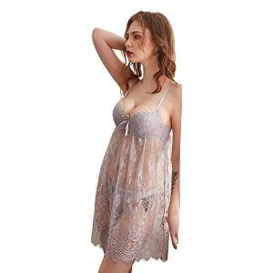 Costume Sexy en Dentelle,Ensemble De Lingerie Séduisant,Ensemble De Lingerie en Dentelle Sexy, Pyjama sous-Vêtements en Dentelle Transparente,Ensemble 2 Pièces,Gris,XL