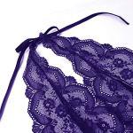 EVELIFE Femme Sexy Col V Profond Lingerie Dentelle Body Transparent Dos Nu sous-vêtements Ensemble de Lingerie avec Jarretière (Violet Samll)