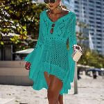 Femmes Robe de Plage Manches Évasées Maillot de Bain Sexy Tricot ajouré au Crochet Taille Tunique Cache-Maillots Bikini Poncho Blouse Été Cover Up(Green)