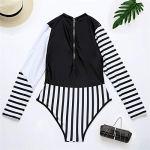 Gybify Maillot de bain femme sport manches longues rayures UV manches longues Rashguard maillot de bain combinaison de surf – Noir – L